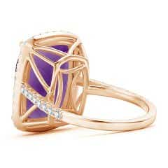 Toggle Rectangular Cushion Amethyst and Diamond Halo Cocktail Ring
