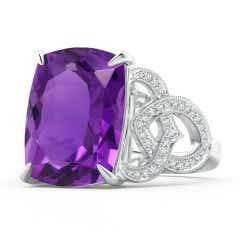 Rectangular Cushion Amethyst Celtic Knot Ring with Diamonds