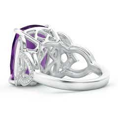 Toggle Rectangular Cushion Amethyst Celtic Knot Ring with Diamonds