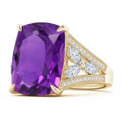 Rectangular Cushion Amethyst Ring with Marquise Diamonds