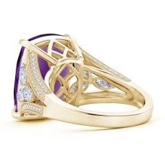 Toggle Rectangular Cushion Amethyst Ring with Marquise Diamonds