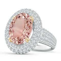 Oval Morganite and Diamond Triple Halo Ring