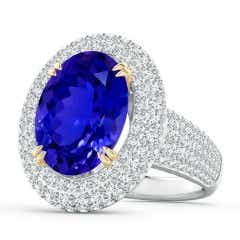 GIA Certified Oval Tanzanite and Diamond Triple Halo Ring