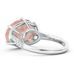Toggle Horizontal Oval Morganite Solitaire Ring with Pave Diamonds