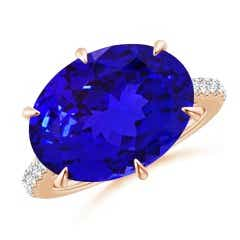 East-West GIA Certified Oval Tanzanite Solitaire Ring