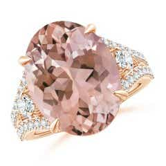 Oval Morganite Split Shank Ring with Diamond Accents