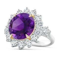 Claw-Set Amethyst Floral Halo Ring with Diamond Accents