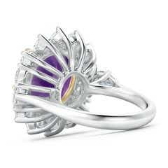 Toggle Claw-Set Amethyst Floral Halo Ring with Diamond Accents