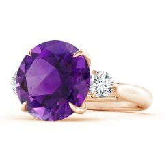 Claw-Set Round Amethyst and Diamond Three Stone Ring