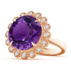 Vintage Inspired GIA Certified Round Amethyst Halo Ring