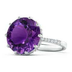 GIA Certified Round Amethyst Solitaire Ring with Diamonds