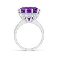 Toggle GIA Certified Round Amethyst Solitaire Ring with Diamonds