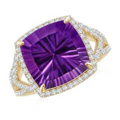 GIA Certified Cushion Amethyst Split Shank Halo Ring