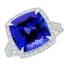 GIA Certified Tanzanite Halo Ring with Milgrain