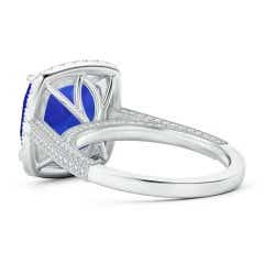 Toggle GIA Certified Tanzanite Halo Ring with Milgrain