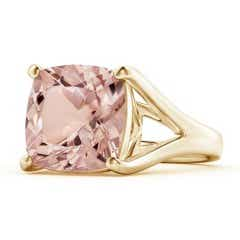 Classic Solitaire Cushion Morganite Split Shank Ring