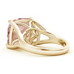 Toggle Classic Solitaire Cushion Morganite Split Shank Ring