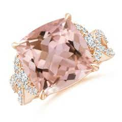 Cushion Morganite Twisted Shank Ring with Diamonds