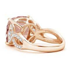 Toggle Cushion Morganite Twisted Shank Ring with Diamonds