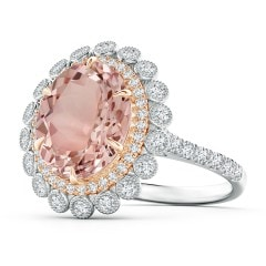 Two Tone Oval Morganite Double Halo Ring with Bezel Diamonds