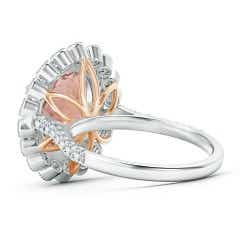 Toggle Two Tone Oval Morganite Double Halo Ring with Bezel Diamonds