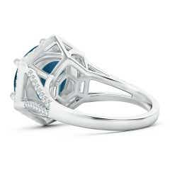Toggle Round London Blue Topaz and Diamond Hexagon Halo Ring