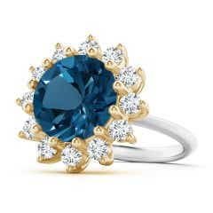 London Blue Topaz and Diamond Floral Halo Ring in Two Tone