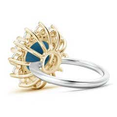 Toggle London Blue Topaz and Diamond Floral Halo Ring in Two Tone