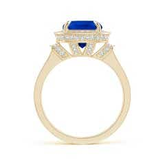 Toggle GIA Certified Cushion Blue Sapphire Halo Ring