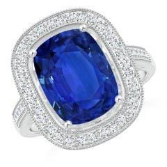 Angara GIA Certified Cushion Sri Lankan Sapphire East-West Halo Ring FJin4h