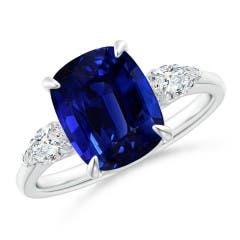 Angara Sapphire Ring - Round GIA Certified Sri Lankan Sapphire Split Shank Ring GcpTbN8