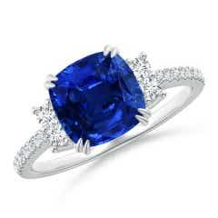 Angara Vintage Style GIA Certified Sri Lankan Sapphire Floral Ring LxPpD9RLN