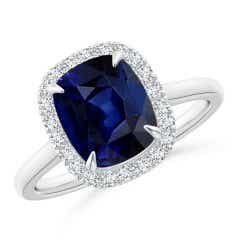 Claw-Set GIA Certified Sapphire Cathedral Style Ring