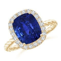 GIA Certified Cushion Blue Sapphire Twisted Shank Halo Ring