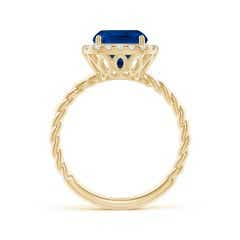 Toggle GIA Certified Cushion Blue Sapphire Twisted Shank Halo Ring