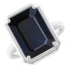 GIA Certified Octagon Sapphire Cathedral Style Ring