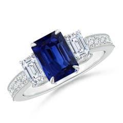 GIA Certified Octagonal Madagascar Sapphire Three Stone Ring