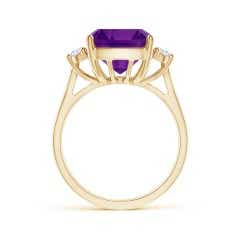 Toggle GIA Certified Cushion Amethyst Reverse Tapered Shank Ring