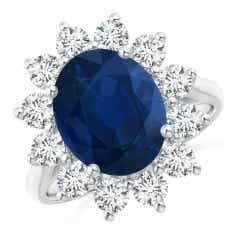 Classic GIA Certified Oval Sapphire Sunflower Ring