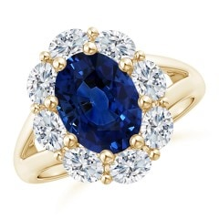 GIA Certified Oval Sapphire Ring with Diamond Halo