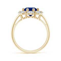 Toggle GIA Certified Oval Sapphire Ring with Diamond Halo