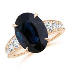 GIA Certified Oval Sapphire Solitaire Ring with Diamonds