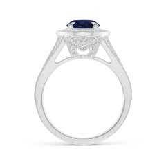 Toggle Classic GIA Certified Sapphire Split Shank Halo Ring