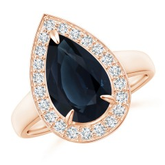 Vintage Style GIA Certified Pear-Shaped Sapphire Halo Ring