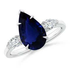 GIA Certified Pear-Shaped Blue Sapphire Ring with Diamonds