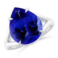 Pear GIA Certified Tanzanite Split Shank Ring
