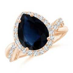 Angara Sapphire Ring - GIA Certified Sri Lankan Sapphire Ring with Pear Diamonds qNNEK