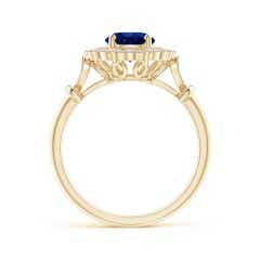 Toggle Art Deco Inspired GIA Certified Sapphire Halo Ring