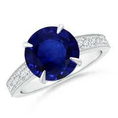 Classic GIA Certified Sapphire Solitaire Ring with Milgrain