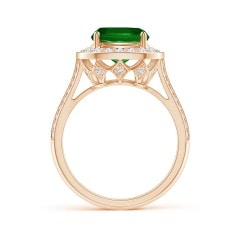 Toggle Vintage Style GIA Certified Cushion Emerald Halo Ring
